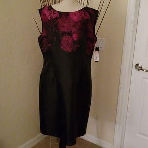 Tahari dress Black with fuchia stitching dress